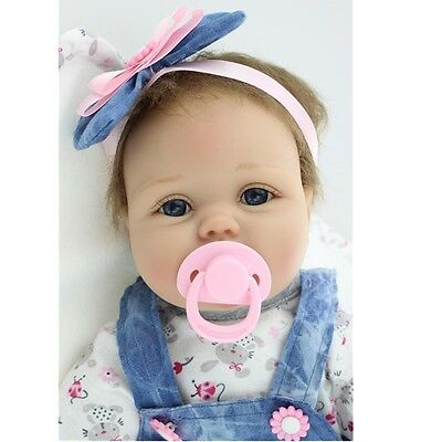 "22"" Handmade Lifelike Reborn Silicone Vinyl Baby Girl Doll Gift With Pacifier on Rummage"