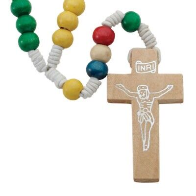 WOOD ROSARY MULTI COLOR BEADS WOODEN CROSS  Color Wooden Rosary Wood