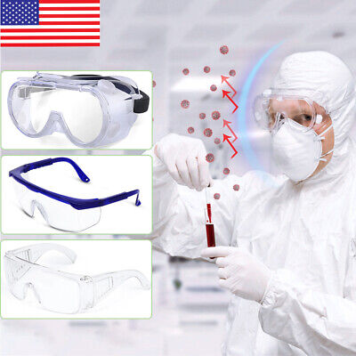 Us Stock Safety Goggles Over Glasses Lab Work Eye Protective Eyewear Clear Lens