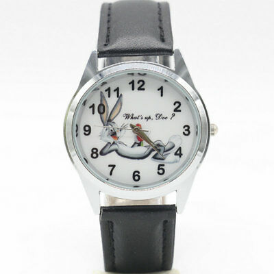 Bug Watch -  Bugs Bunny Black Genuine Leather Band Wrist Watch