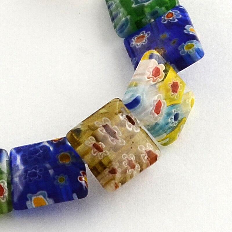 "Square Handmade Millefiori Glass Beads Strands, Mixed Color, 14MM 15"""