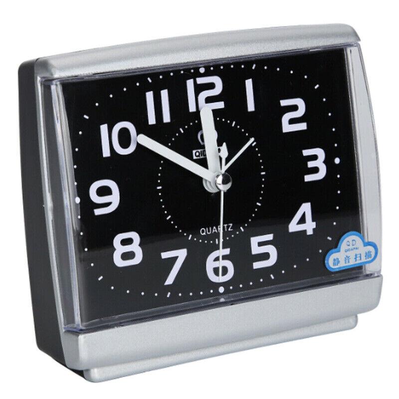 No Tick Night Alarm Clock Quartz Bedside Table Snooze Travel Home Desk Decor Alarm Clocks & Clock Radios