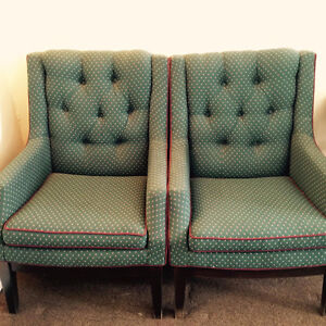 Two eclectic wingback chairs