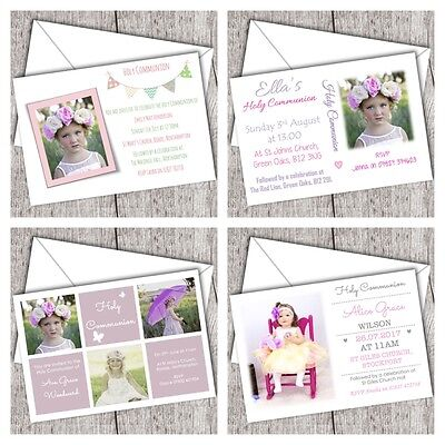 First Holy Communion Invitations ~ Personalised ~ Photo ~ Girl (DD1) - First Communion Photo Invitations