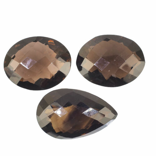 3 Pcs Natural Smokey Quartz 31.81mm-36.54mm Huge Sparkling Untreated Gemstones