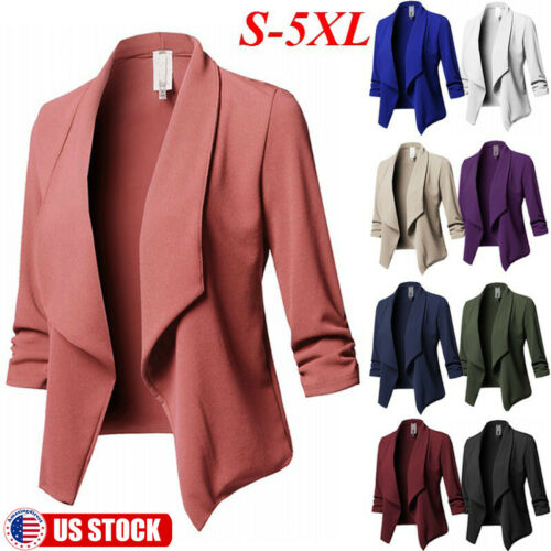 Plus Size Womens Slim OL Suit Casual Blazer Jacket Coat Tops