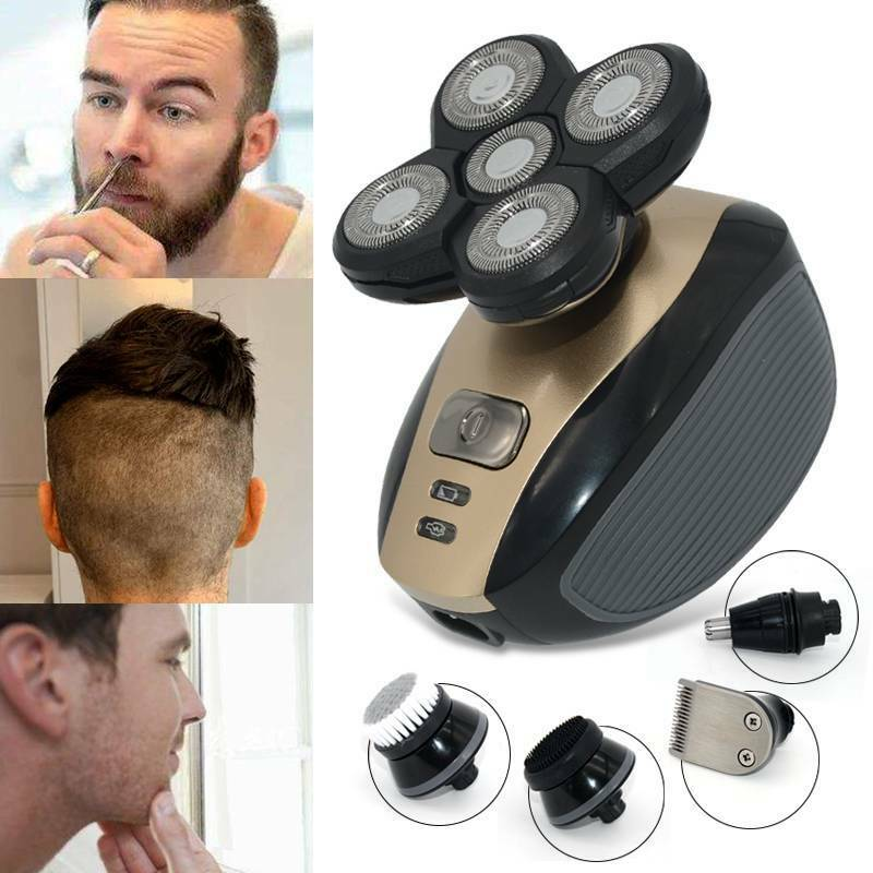 Multifunction Rotary Rechargeable Electric Shaver Bald Head