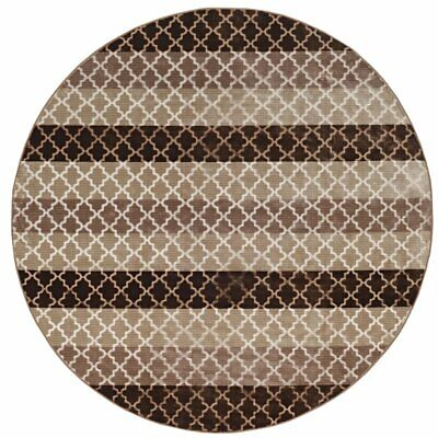 Riverbay Furniture 8' Round Stripes Rug in Beige and Brown ()