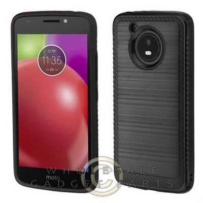 Motorola Moto E4 Brushed 2/PC Hybrid Case - Carbon Fiber/Black Guard Shield