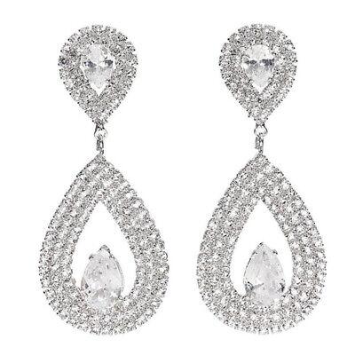 Crystal Bridal Long Earrings Luxury Elegant Water Drop Shaped Cubic Zirconia