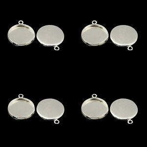 ❤ 10 x Silver Plated Blank Pendant TRAY Cup Setting For 12mm Cabochon UK Stock ❤
