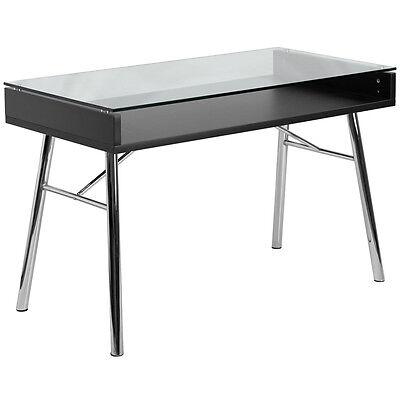 Brettford Desk With Tempered Glass Top Chrome Frame Floor Glides
