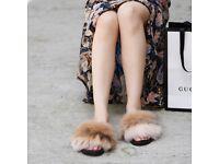 DAYMISFURRY-- Fox Fur Slides - Evening Sand