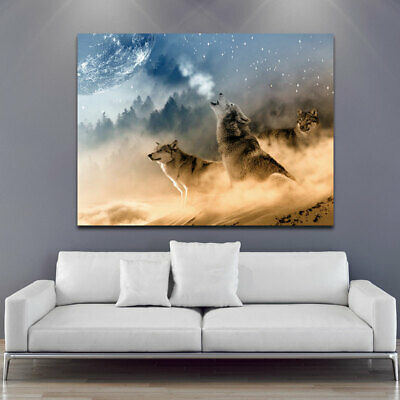 Wolf Howling & The Moon Canvas Painting Wall Art Picture Home Decor Decoration