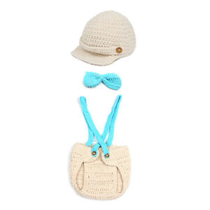 1 Set Infant Baby Boy Crochet Knit Photography Props Hat Overalls Costume Outfit