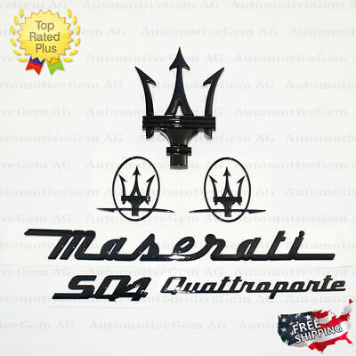 Maserati Emblem Quattroporte SQ4 Grille Trident Side Logo Black Badge Set Kit