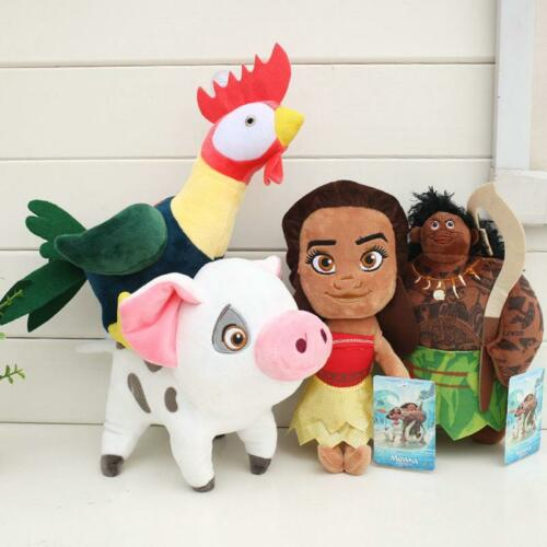 4pcs NEW Moana Maui Waialik Heihei Stuffed Plush doll toy Gift