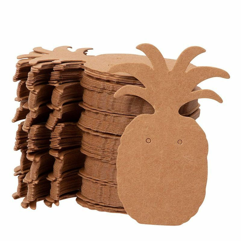 """300-Pack Earring Card Holder, Pineapple Shaped, for Ear Studs, Brown, 1.75""""x2.5"""""""