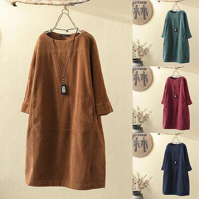 Womens Vintage Corduroy Casual Loose Shirt Dress Long Sleeve Solid Tunic Dresses