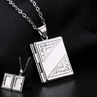 (Jewelry Silver Book Photo Locket Square Box Pendant Necklace Chain)
