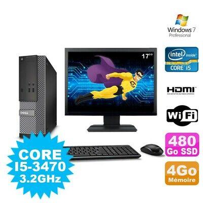 Lot PC DELL 3010 SFF I5-3470 DVD 4Go 480Go SSD HDMI Wifi W7 + Ecran 17