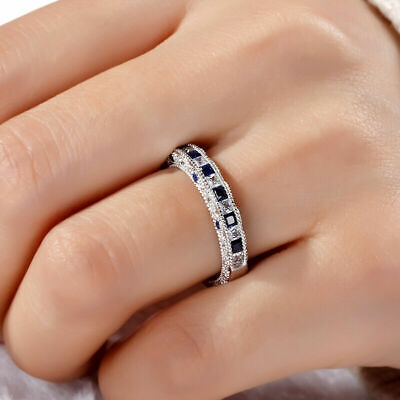 - 2Ct Princess Cut Blue Sapphire Vintage Wedding Band Ring 18K White Gold Finish