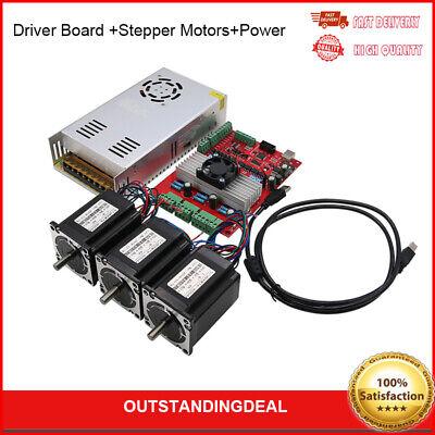 Mach3 Usb 3-axis Cnc Kit Tb6560 Driver Board Nema23 Stepper Motorspower