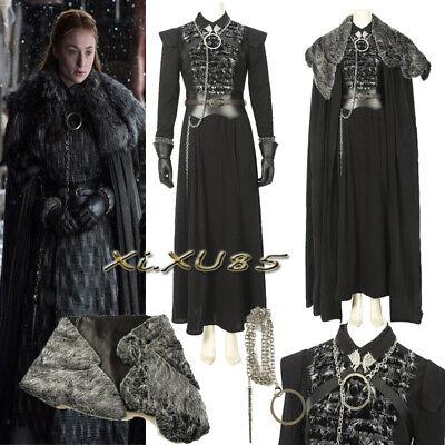 NEW Game of Thrones 8 Sansa Stark Cosplay Costume Fancy Suit Customize Halloween (Stark Costume)