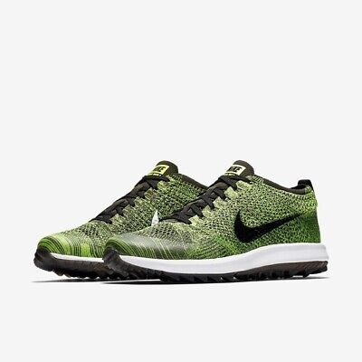Nike FLYKNIT RACER Golf Shoes UK 8 EU 42.5 US 10 Volt Black 909756 700
