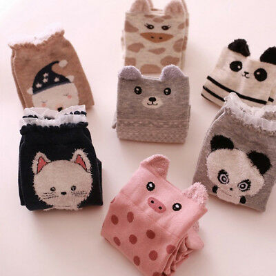 Women Girls Cute Cartoon Animal Cotton Casual Ankle Socks Cat Panda (Cute Animal Print)