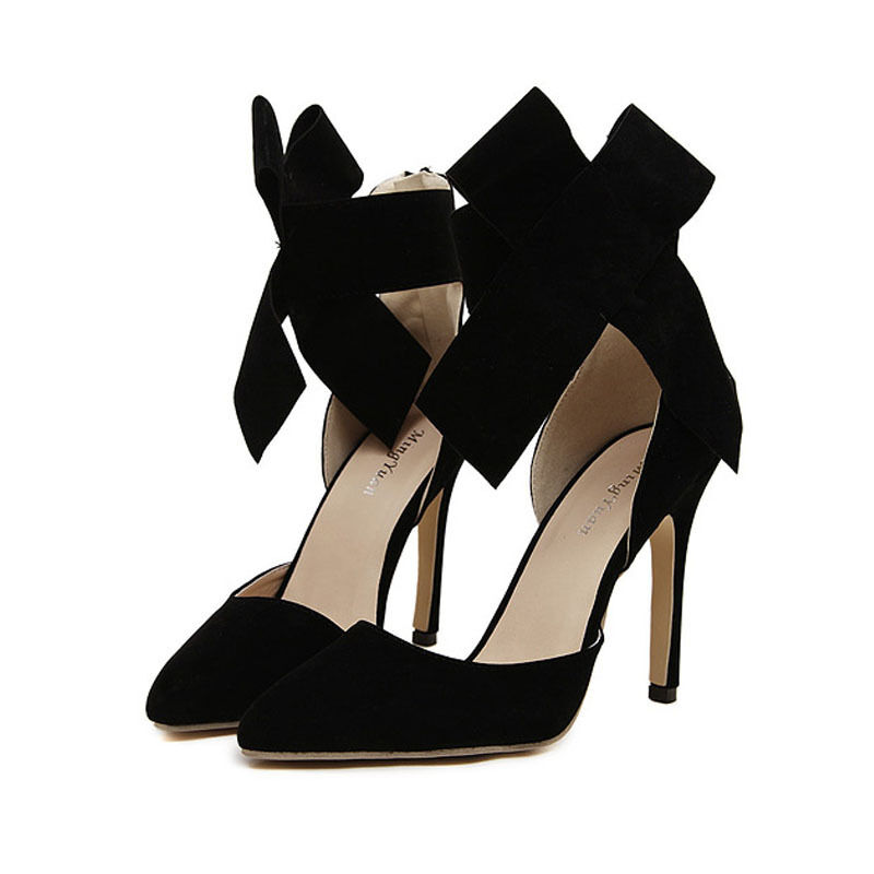 7969090caba Details about Women Big Bow High Heels Pointed Toe Pumps Solid Stilettos  Ankle Strap Shoes Sz
