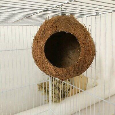 Bird's Coconut Shell Breeding Nest Parrot Hamster Hanging Toy Hut Cage House (Hut Bird)