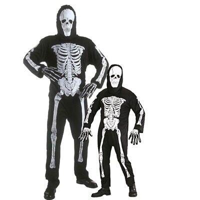 SKELETT KOSTÜM MIT MASKE für Herren Jungen Kinder Gr. 128 bis XL 54 (Skelett Kostüm Für Herren)