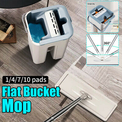 Self Cleaning Drying Wringing Mop Bucket System Flat Floor Free Hand Wash Mop Dry Wash System