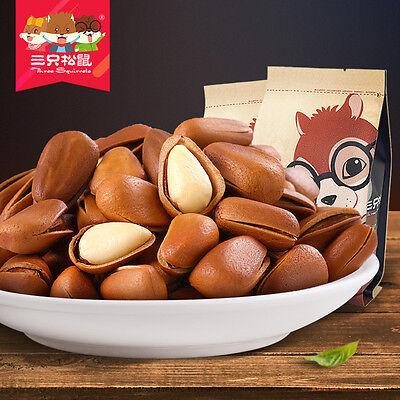 【三只松鼠_开口松子218gx2袋 原味】东北手剥红松子 坚果炒货免運費Chinese Food Snacks Three Squirrels Pine nut Foods Chinese Pine Nuts