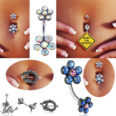 Beauty Crystal Flower Navel Ring Belly Button Rings Dangle Pendant Body (Dangle Navel Ring Rings)
