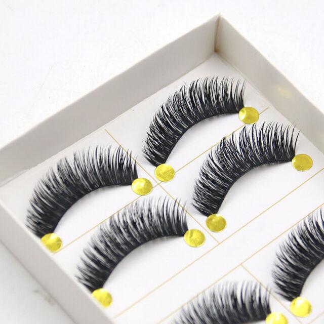 5 Pairs HOT Natural Long Black Eye Lashes Handmade Thick Fake False Eyelashes