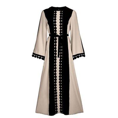 Dubai Kaftan Women Long Dress Muslim Abaya Belt Party Loose Maxi Robe Jilbab New