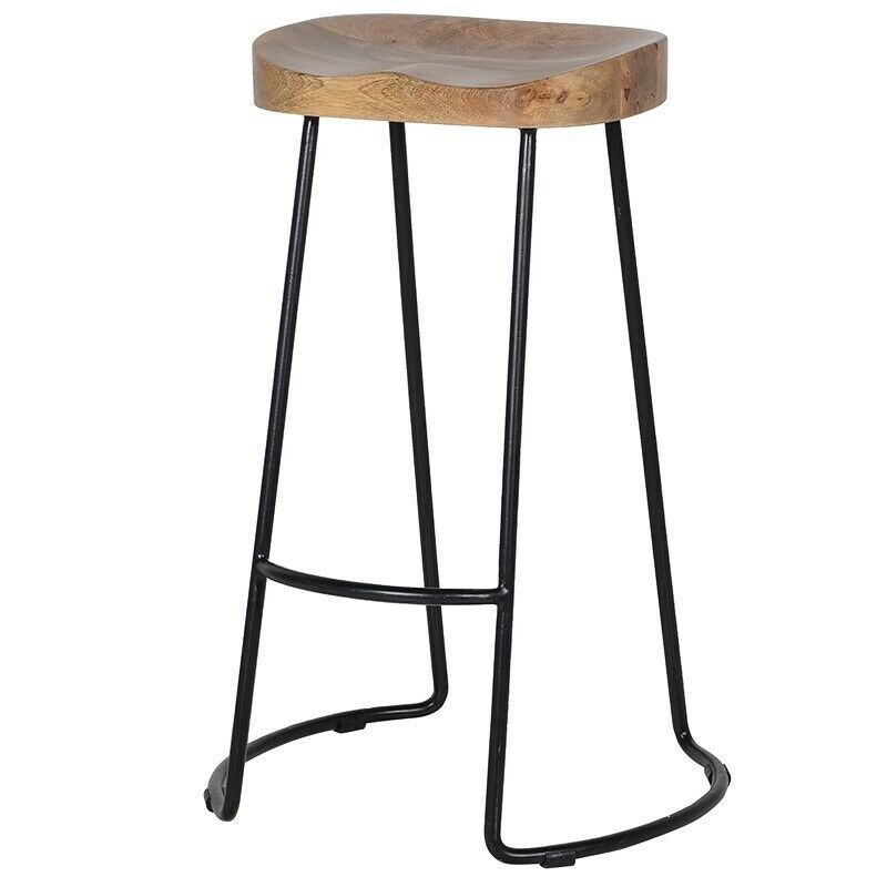 Groovy Pair Of Wooden Top Black Metal Frame Industrial Style Bar Stools New Show Home Overstock In Bournemouth Dorset Gumtree Machost Co Dining Chair Design Ideas Machostcouk