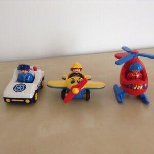 Ensemble Playmobil 123: avion, hélicoptère et auto de police
