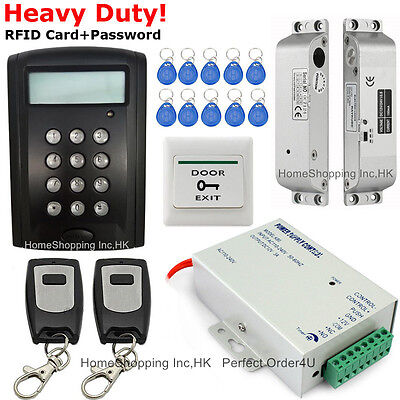 LCD Screen RFID Card+Password Door Access Control System+Drop Bolt Lock+2Remotes