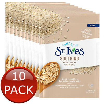 St Ives, Skin Care (10 x ST IVES SOOTHING SHEET MASK OATMEAL FACIAL SKIN CARE SOOTHES SOFTHEN BULK)