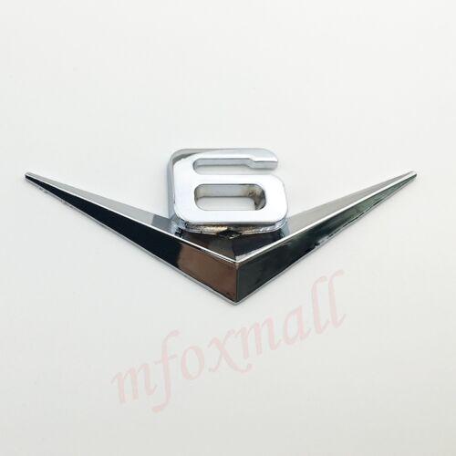 Universal Chrome Metal V6 3D Emblem Badge V 6 Sticker Decal Auto Motor Accessory
