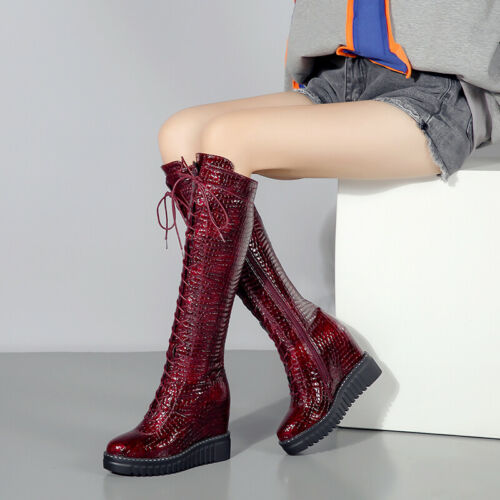 Women Creeper Lace Up Wedge Heel Platform Mid Calf Riding Knight Knee High Boots