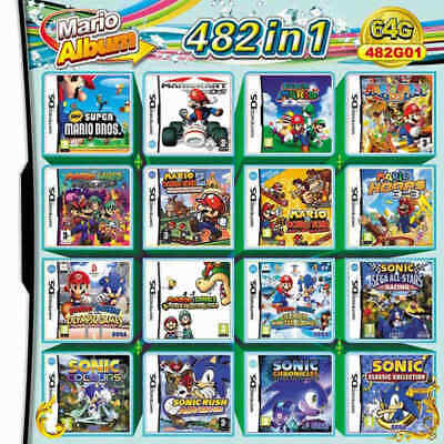NEW NDS 482 in 1 Game Cartridge Mario Multicart for DS Lite NDSi 3DS 2DS XL US