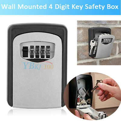 Wall Mount Combination Key Lock Box Safe Security Case Organizer Outside 4 Digit