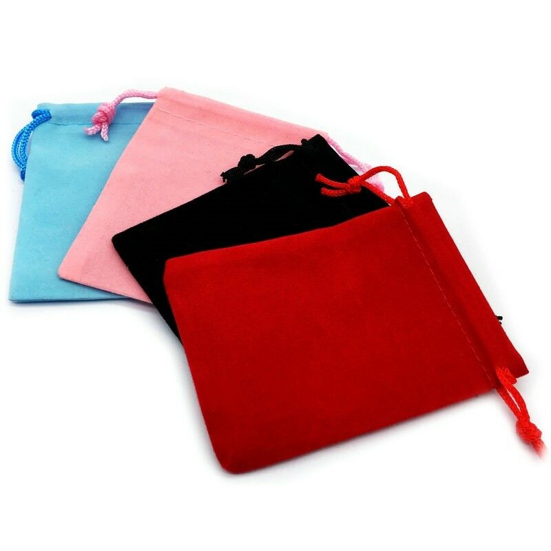 Jewellery - 1-50 Black Red Pink Velvet Jewellery Drawstring Wedding Gift Bag Favour Pouches