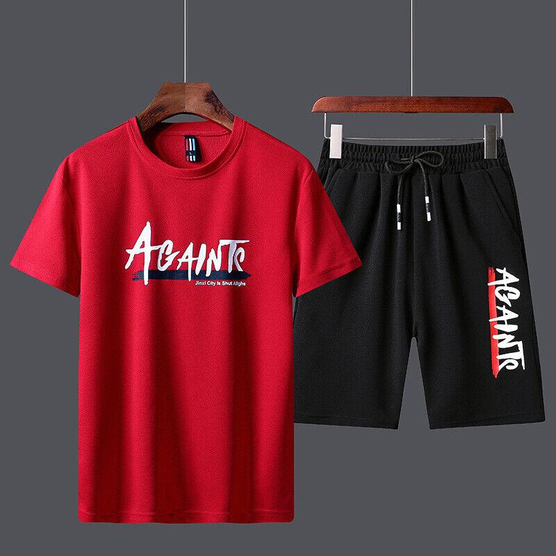 Men's Tracksuit Summer Clothes Sportswear Two Piece Set T Sh