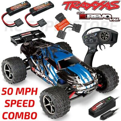 Traxxas 1/16 E-Revo VXL Brushless 4WD RTR RC Truck BLUE - 50MPH COMBO PACKAGE!