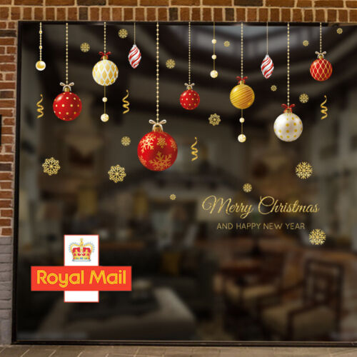 Home Decoration - Christmas Xmas Removable Baubles Balls Window Stickers Wall Home Shop Decor UK